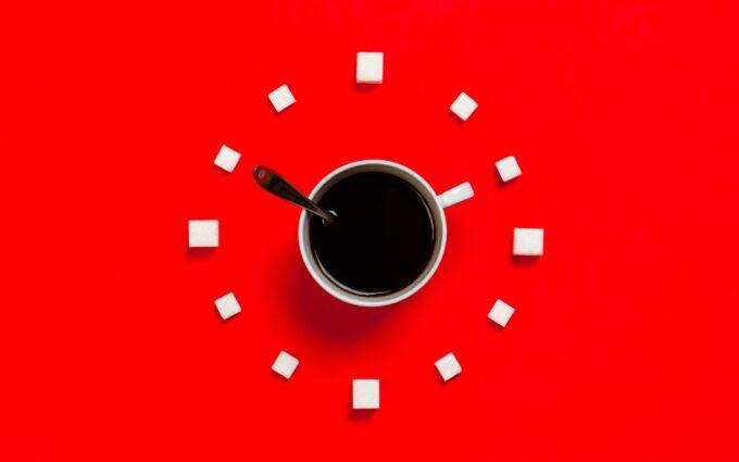 White Mug on Red Background Desktop Wallpapers
